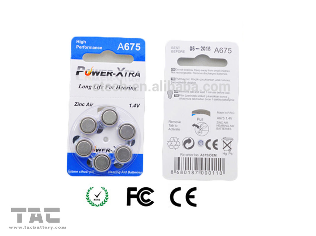 A675 PR44 1.4V 620mAh Zinc Air Battery Lithium Coin Cell Battery With Blue Tab