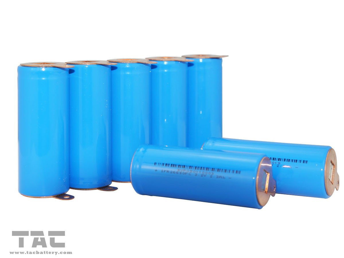 Rechargeable IFR26650 3.2V LiFePO4 Battery 2350mAh With Tabs For Back Up Power